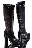 Сапоги женские на каблуке кожаные GL 8040