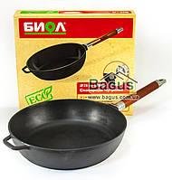 Сковорода (сотейник) чугунная 28 см литая глубокая с деревянной съемной ручкой, чугунная посуда Биол (0328)