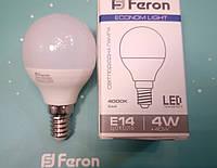 Светодиодная лампа (шарик Р45) Feron LB-380 E14 4W 4000K  для общего и декоративного освещения