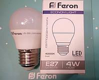 Светодиодная лампа (шарик Р45) Feron LB-380 E27 4W 4000K  для общего и декоративного освещения