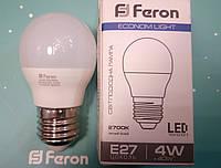 Светодиодная лампа (шарик Р45) Feron LB-380 E27 4W 2700K  для общего и декоративного освещения