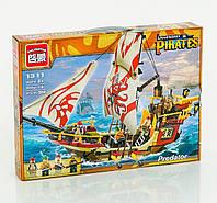 Детский конструктор пиратский корабль с парусами