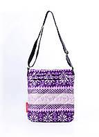 Сумка-планшет болоневая Poolparty с северным орнаментом фиолетовая