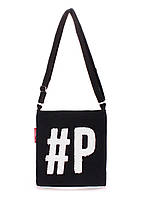 Коттоновая сумка Poolparty Detroit черная с белым