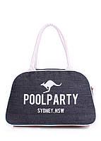 Джинсовая сумка-саквояж  Poolparty темно-синяя