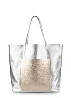 Кожаная сумка Poolparty Mania серебро с золотом
