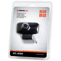 Веб-камера REAL-EL FC-250 (Черный) с микрофоном для скайпа виндовс юсб usb
