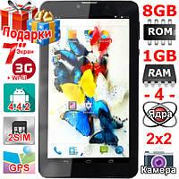 Смартфон Планшет 2 сим Samsung Tab 7 НD 1024 х 600 OЗУ 1 Гб Flash 8 Гб Андроид 4 4 GPS 2 sim 3000 mAh Подарок