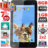 Смартфон Планшет 2 сим Samsung Tab 7 ОЗУ 1 Гб Flash 8 Гб 4 ядра 3G OTG GPS 3000mAh Подарки Гарантия 12 мес