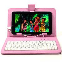 Чехол подставка для планшета 7 дюймов с русской клавиатурой micro Usb Розовый