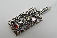 Серебряный кулон на цепочку с камнями. Оригинальная подвеска