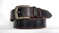 Джинсовый кожаный ремень 45мм черный прошитый двойной коричневой ниткой пряжка матовая коричневые края
