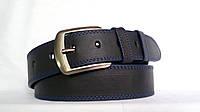 Джинсовый кожаный ремень 45мм черный прошитый двойной синей ниткой пряжка матовая синие края