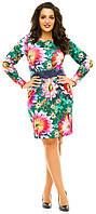 Платье женское полубатал цветы пояс, фото 1