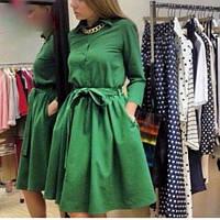 Платье миди трикотажное с расклешенной юбкой и планочкой на груди