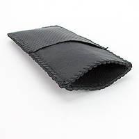 Футляр для очков кожаный черный универсальный (ручная работа)