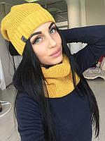 Комплект шапка флис с шарфом хомут машинная вязка