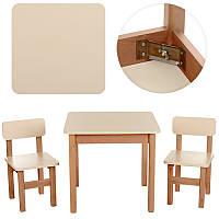 Деревянный стол и два стула (F093)