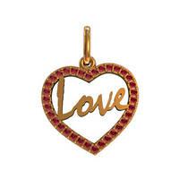 """""""Love"""" - золотой кулон в форме сердца 585* пробы с камнями"""