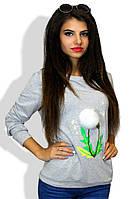 Свитшот женский одуванчик бубон из натурального меха ( съёмный)