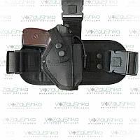Тактическая кобура для пистолета ПМ, набедренная с возможностью поясного ношения, черная, ткань Оксфорд.