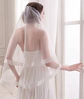 Свадебная кружевная фата с шантильэ (Ф-Кд-13) белая и айвори