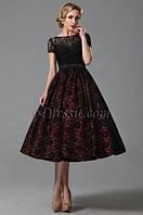 Эксклюзивное платье миди из дорогого гипюра с пышной юбкой