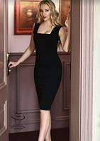 Приталенное платье миди без рукавов с квадратным вырезом горловины