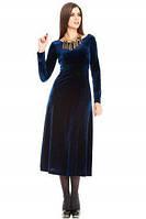 Бархатное платье миди с расклешенной юбкой