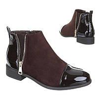 Женские  ботинки с декоративной вставкой пятки и носка XD-11-brown