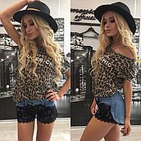 """Красивые модные женские шорты """"Джинс и набивной гипюр"""" 42-60р"""