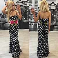 """Шикарное модное очень красивое женское платье в пол """"Стильный горох и цветочное кружево"""" 42-60р"""