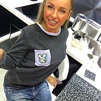 "Стильный теплый свитерок на кармане камни Swarovski "" Mickey Mouse"""