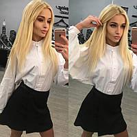 """Стильный модный молодежный костюм с юбкой """"Белый верх черный низ"""" 42-60р"""