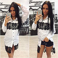 """Легкая удлиненная женская рубашка очень приятная к телу """"Вставки французское кружево"""" 42-60р РАЗНЫЕ ЦВЕТА!"""