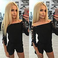 """Модный женский комбез """"Короткий+шнуровка"""" 42-60р РАЗНЫЕ ЦВЕТА!"""