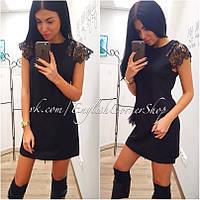 """Модное изящное черное короткое платье """"Плечики из дорогого кружева"""""""
