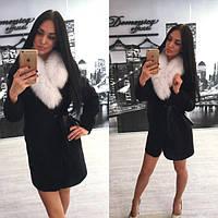 """Шикарное женское пальто """"На запах,натуральный мех"""" РАЗНЫЕ ЦВЕТА"""