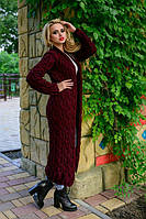 Качественный женский вязанный длинный кардиган бордового цвета