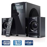Колонки SVEN MS-2000 чтение SD, USB, FM-радио и часы