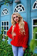 Яркий теплый женский свитер из крупной вязки красного цвета