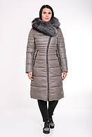 Зимнее женское пальто батал с натуральным мехом SNOW OWL