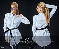 Модная  белая коттоновая рубашка на пуговицах. Арт 8660/70