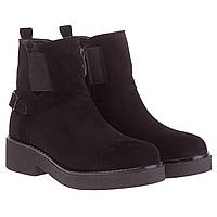 Ботинки женские FAVI (черные, замшевые, с резинками сверху, стильные, удобные)
