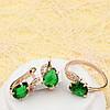 R3-0379 - Комплект с изумрудно-зелёными и прозрачными фианитами розовая позолота, 18.5, 19.5, 20.5 р.