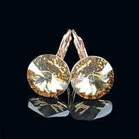 R8-0010 - Серьги розовая позолота с кристаллом Swarovski Rivoli Crystal Golden Shadow Size L