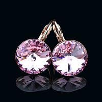 R8-0012 - Серьги розовая позолота с кристаллом Swarovski Rivoli Rose Size L