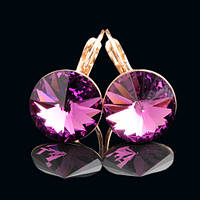 R8-0013 - Серьги розовая позолота с кристаллом Swarovski Rivoli Amethyst Size L