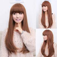 Парик искусственные волосы светло-коричневый русый прямые с челкой