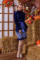 Теплое вязаное темно-синее платье с поясом Иванка Modus  44-48 размеры